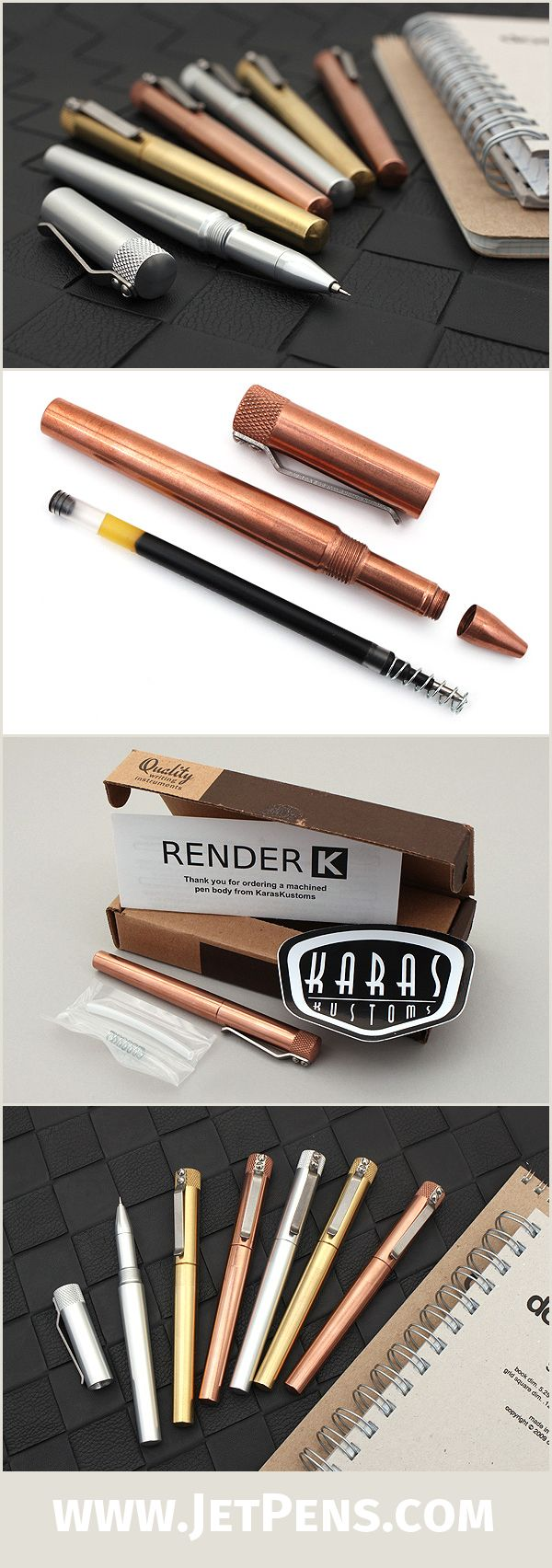 The fully machined Karas Kustoms Render K Pens are designed to accommodate a wide variety of ink refills, including the Hi-Tec-C, G2, Parker, Fisher, and others.