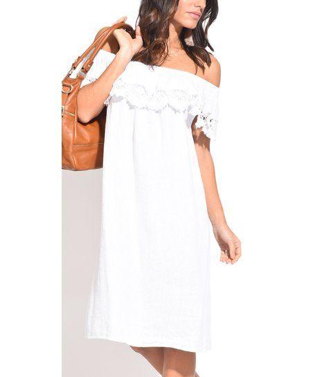 Captivant Couleur Lin White Lace Trim Linen Off Shoulder Dress | Zulily