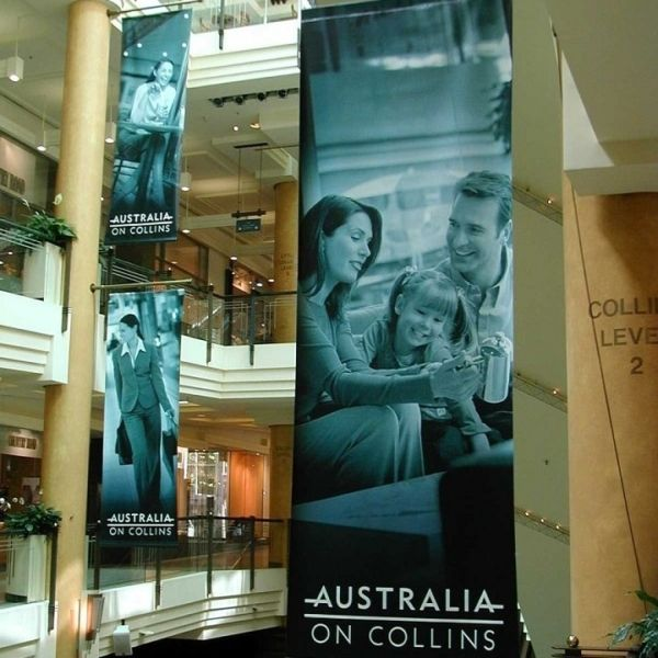 Hanging banners in a shopping centre.