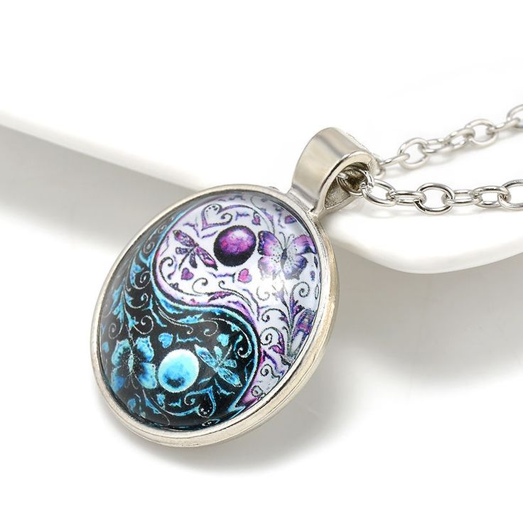 Be special: Ying Yang Butterfly Cabochon Glass Pendant Tibet S...
