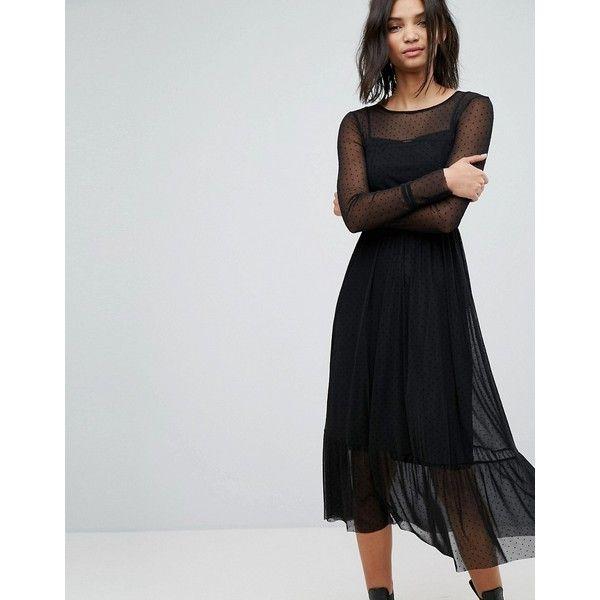 Stradivarius Mesh Maxi Dress ($45) ❤ liked on Polyvore featuring dresses, black, mesh maxi dresses, cinched waist maxi dress, long sleeve mesh dress, mesh dress and tall maxi dresses