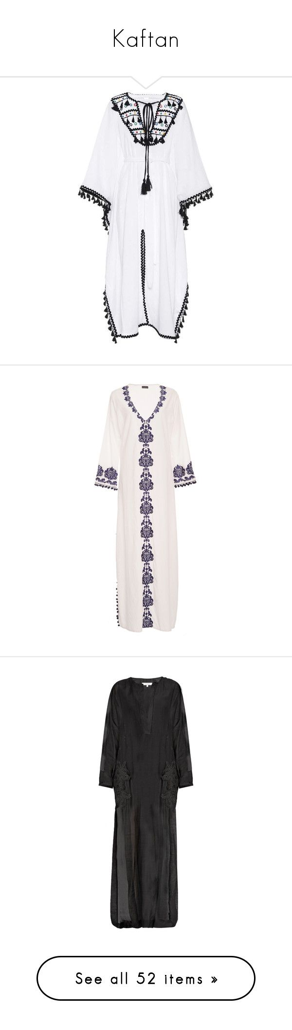 """""""Kaftan"""" by nblckwjy ❤ liked on Polyvore featuring tops, tunics, white, white kaftan top, cotton kaftan, white cotton tunic, kaftan tunic, cotton caftan, white tunic and white embroidered top"""