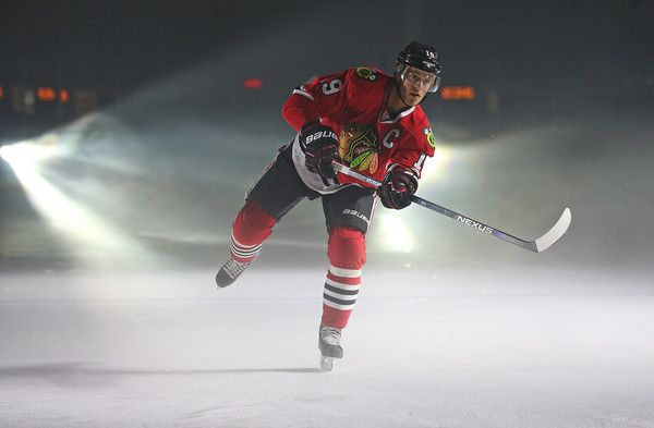 Jonathan Toews Photos Photos - Jonathan Toews of the Chicago Black Hawks participates in on ice activities while waiting for TV interviews during the 2015 NHL Player Media Tour at the Mastercard Centre of Hockey Excellence on September 8, 2015 in Toronto, Ontario, Canada. - 2015 NHL Player Media Tour