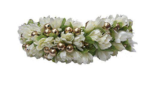 Majik-Artificial-Flowers-Hair-Veni-Gajra-Women-Hair-Accessories-Free-Hair-Donut-18-cm-White