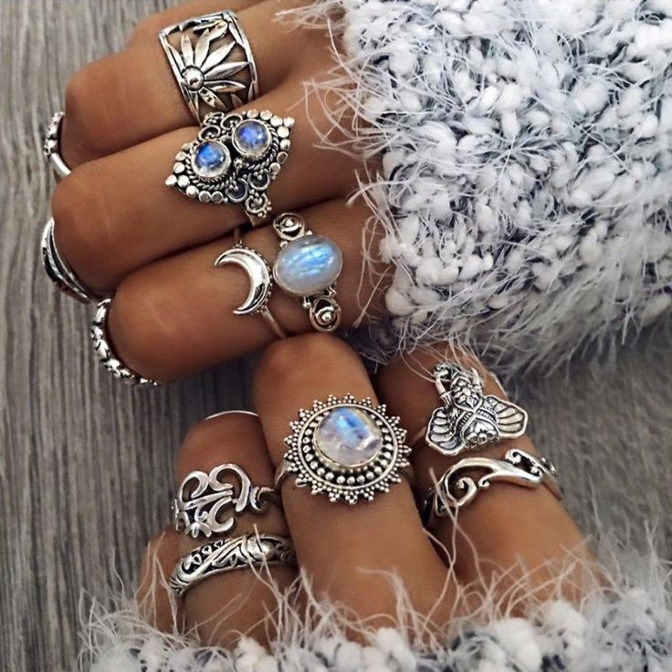 Boho jewelry :: Rings, bracelet, necklace, earrings + flash tattoos :: For Gypsy wanderers + Free Spirits :: See more bohemian jewel inspiration @loverofficial