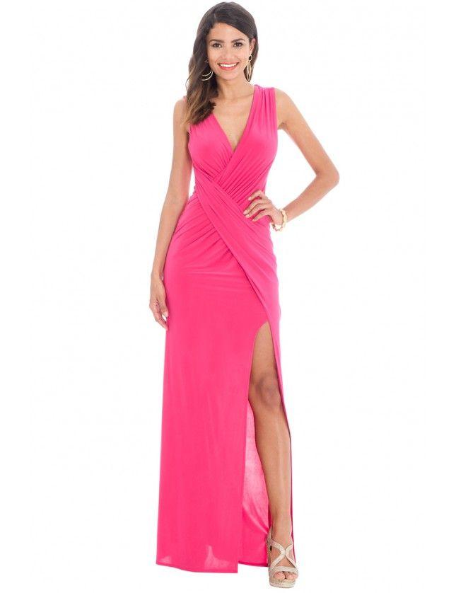 Front Split Maxi Dress - Cerise - Front - DR562