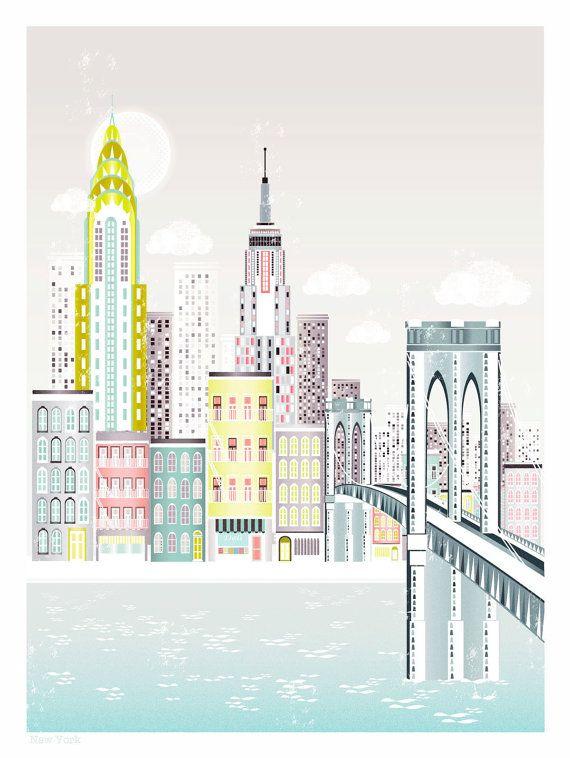 Impresión del arte de Nueva York horizonte el puente por lauraamiss