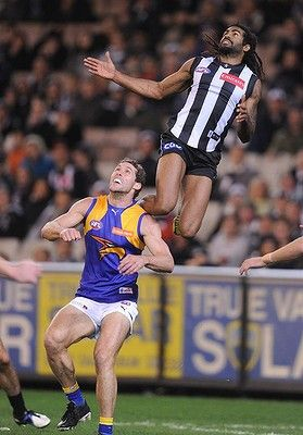Collingwood's Harry O'Brien flies high on Eagle's Darren Glass at the MCG. Collingwood 15.11 d West Coast 5.9 on 23 Aug 13.