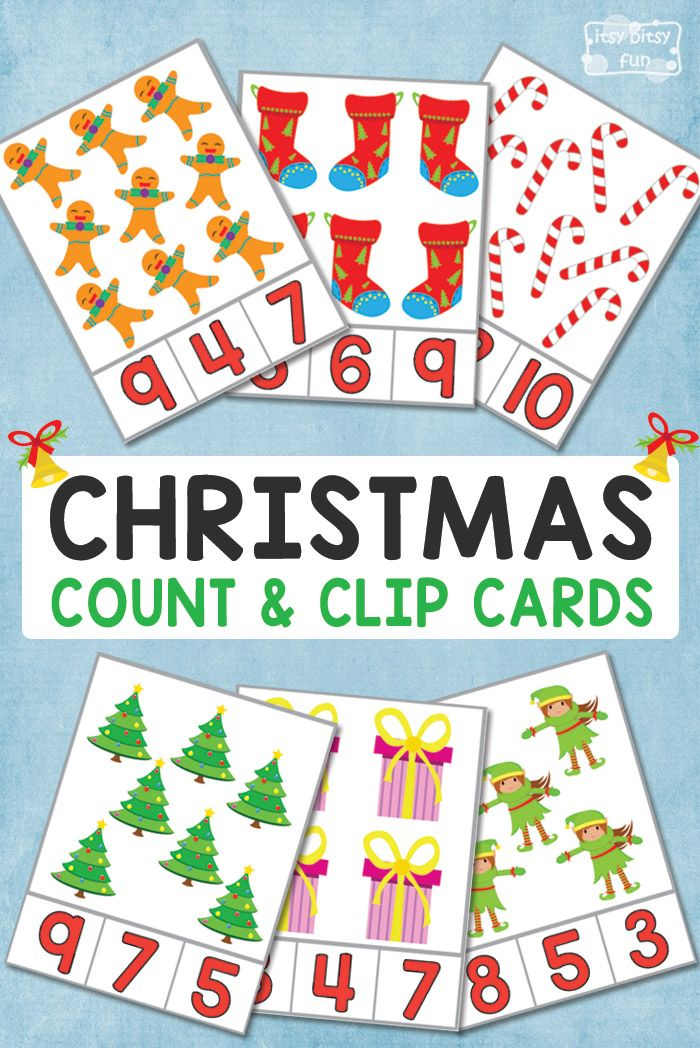 FREE Christmas Counting Clip Card Printables for Kids