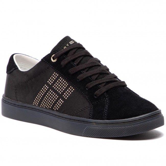 4e10440ca Sportcipő TOMMY HILFIGER - Sparkle Satin Essential Sneaker FW0FW03694 Black  990