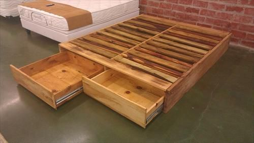 DIY Pallet Wood Bed Frame Ideas | Pallets Furniture Designs