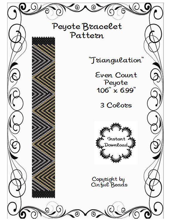 PEYOTE CUFF PATTERN Peyote Bracelet Miyuki by CinfulBeadPatterns