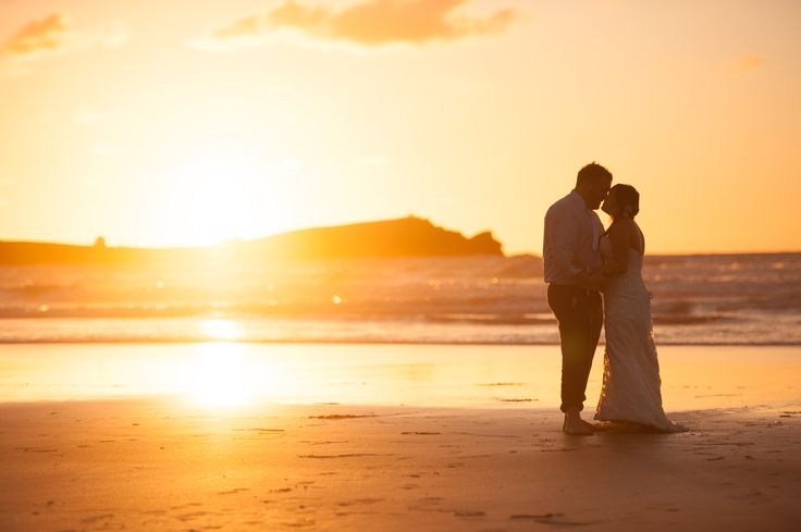 Sunset moment @Lusty Glaze Beach Weddings taken by Keith Riley Photography