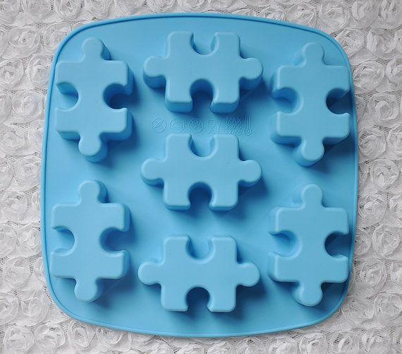 7-cavity puzzle Cake Mold Soap Mold Flexible by rainbowdiybracelet
