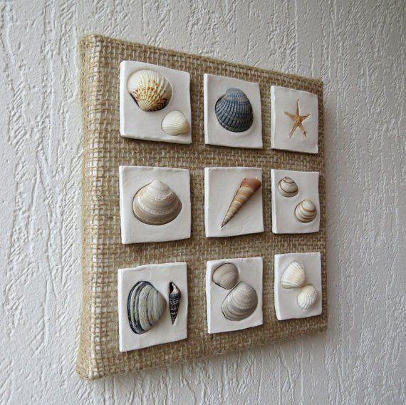 Wall hanging decoration – Coastal decor – Beach style decoration – Shells art – Seashells collage – Clay sculpture – Sea stars decor