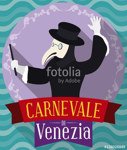 Button in Flat Style with Plague Doctor for Venice Carnival