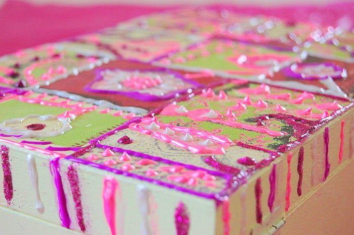 wooden box, like a fake cake