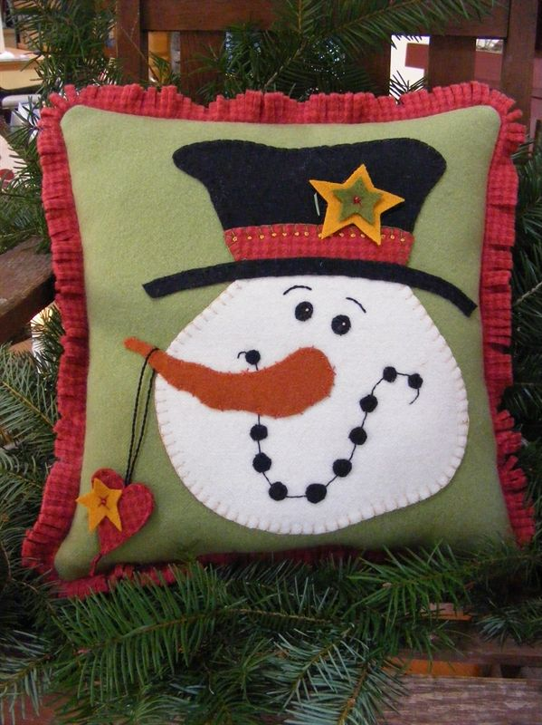 Top Hat Snowman Pillow