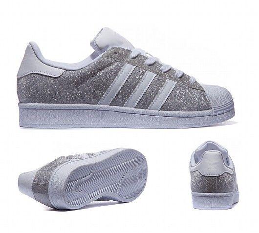 adidas Originals Womens Superstar Glitter Trainer | Silver ...