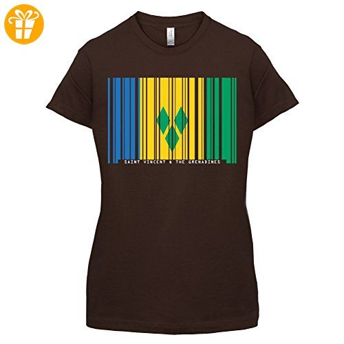 Saint Vincent and the Grenadines / St. Vincent und die Grenadinen Barcode Flagge - Damen T-Shirt - Dunkles Schokobraun - S (*Partner-Link)