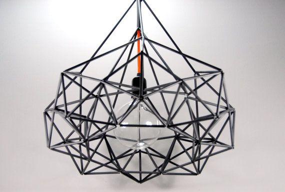 Himmeli Diamond Star Light Pendant Geometric Black Matte Edison Style Chandelier the Original Himmeli Art Panselinos