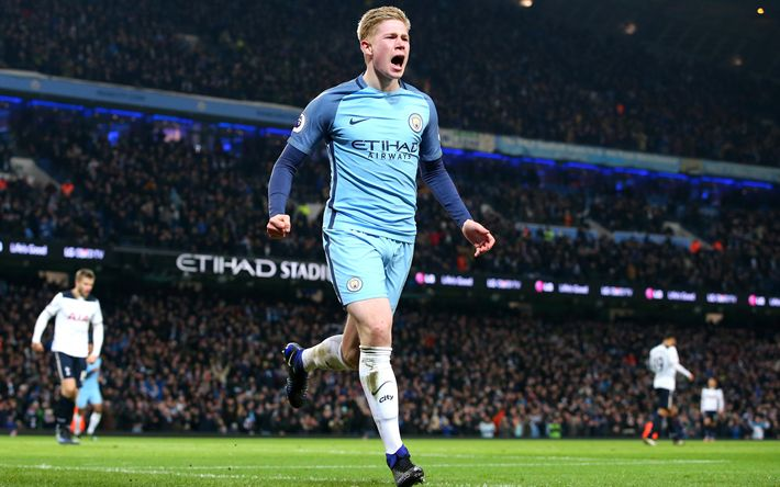 Download wallpapers 4k, Kevin De Bruyne, Man City, footballers, Manchester City, Premier League, soccer, goal