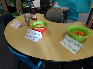 "cute snacks for test day...Add ""juicy"" details, I'm ""Cheering"" for you, and A good writer ""Chex"" his work"