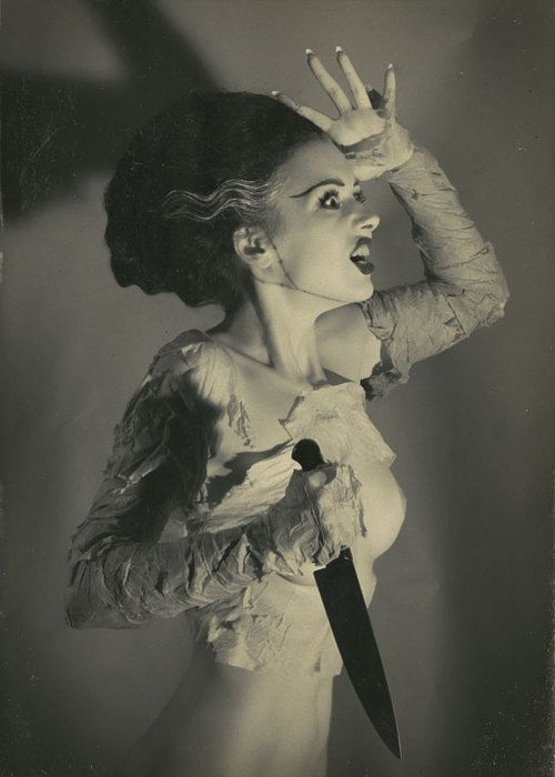 One of my favorite Bride of Frankenstein reproduction photos. The set is amazing, this is just one of the photos.