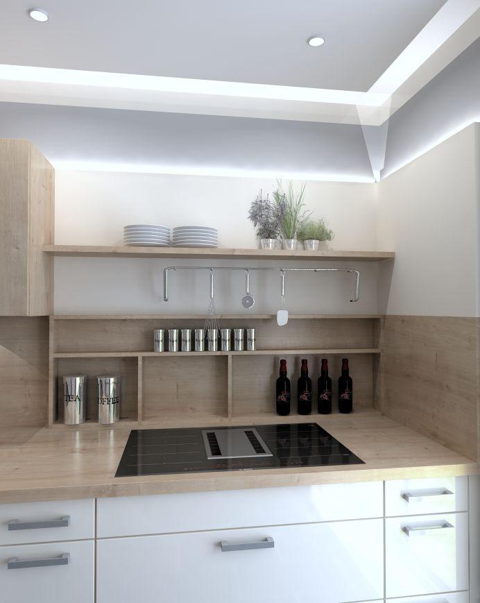 """Ein Muldenlüfter ist auch an einer Wand geplant möglich. Hier sind jedoch Schränke über dem Muldenlüfter nicht zu empfehlen. Daher ist dies eine Variante in der Regale zur Einteilung und Staurauboptimierung dienen. Wem das zu """"wild"""" ist bekommt diese Lösung auch mit einer Schiebetür.  #kleineküche #modern #küche #Licht #Lichtkonzept #Muldenlüfter #Kochnische #Konzeptküche #wenigplatz #Bosch #modern"""
