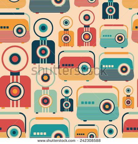Seamless pattern with colorful retro radios and cameras. #retro #retropattern #vectorpattern #patterndesign #seamlesspattern