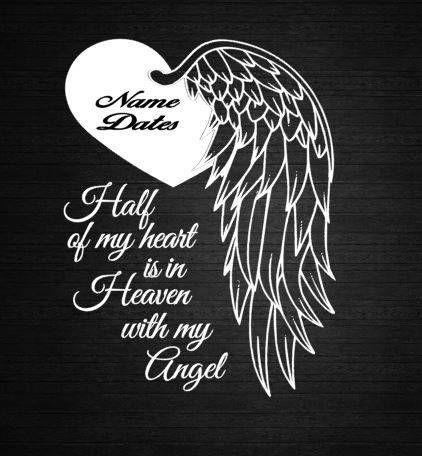 Angel Heart Wings In Memory of Personalize Vinyl Decal Car