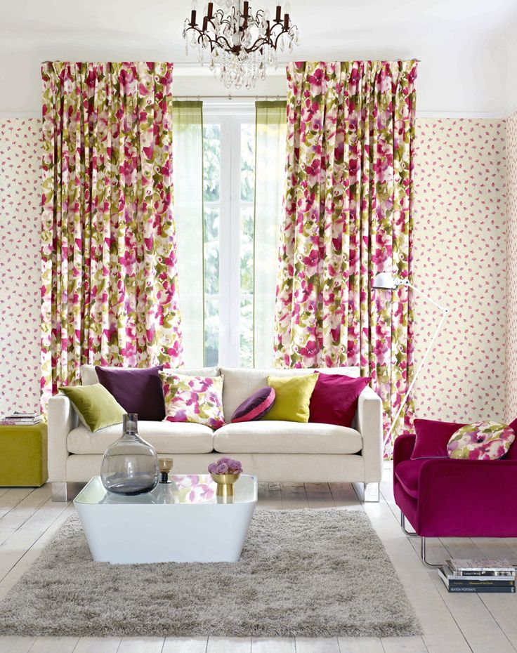 The attractive floral curtains are accessorised with - Living room curtains with matching pillows ...
