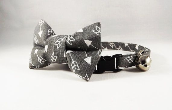 Arrow Cat Collar Breakaway Cat Collar Gray Cat by PerfectlyPoshPet