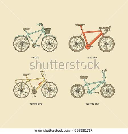 Citi bike, road bike, trekking bike, freestyle bike icons. Vintage color elements.