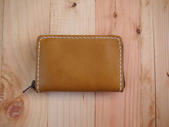 Handmade Leather Credit Card Zip Wallet / Zip wallet by byAsros
