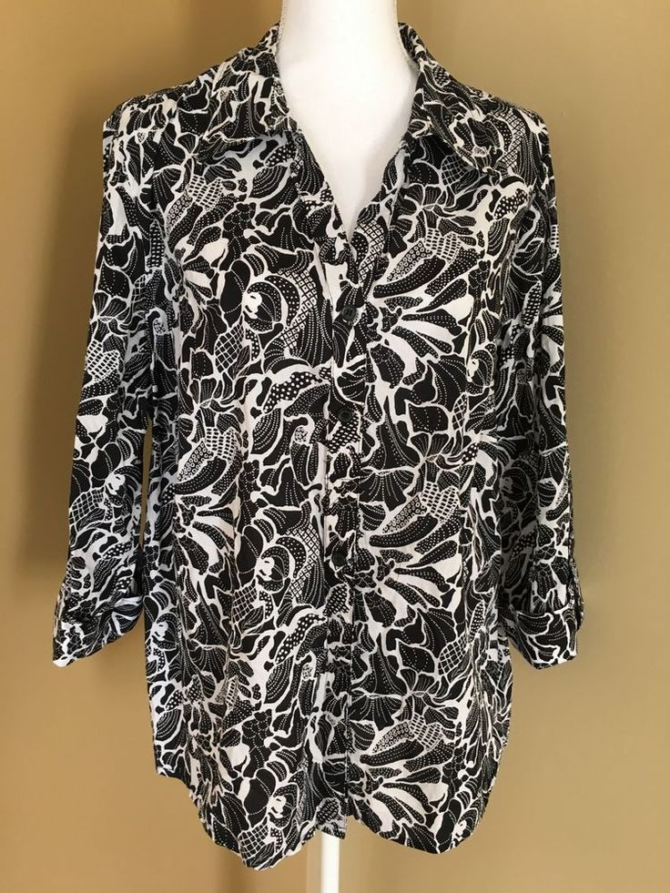 STYLE AND COMPANY 20W Button Front Shirt Blouse Black White 3/4 Sleeve Floral  | eBay