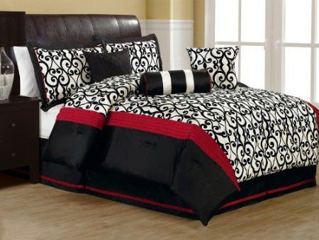11 piece king fantasia flocking black and white bed in a bag set bedding bath Master bedroom with red bedding