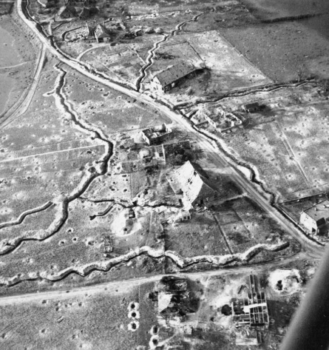 An Allied aerial reconnaissance photo reveals a farmhouse near the Siegfried Line, which the Germans have turned into a fortified strongpoint. Such positions were often reduced at great cost.