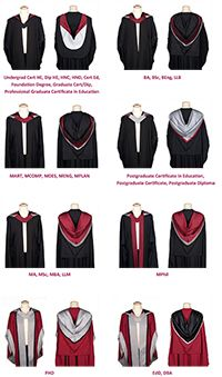 The range of Sheffield Hallam graduation gowns (click to enlarge)