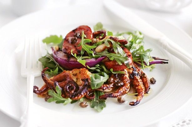 Spicy chorizo sausage adds a meaty touch to this tasty octopus salad.
