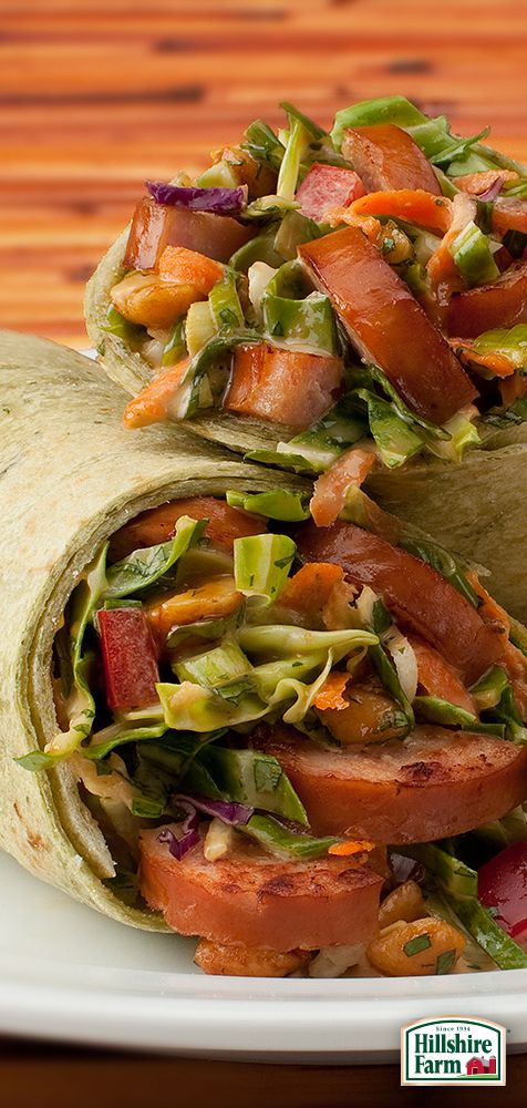 Shake up lunchtime with some help from Hillshire Farm® Smoked Sausage! These sweet and tangy Asian Sausage Salad Wraps are a delight to eat and super easy to make. Find the recipe and even more fresh lunch ideas here.