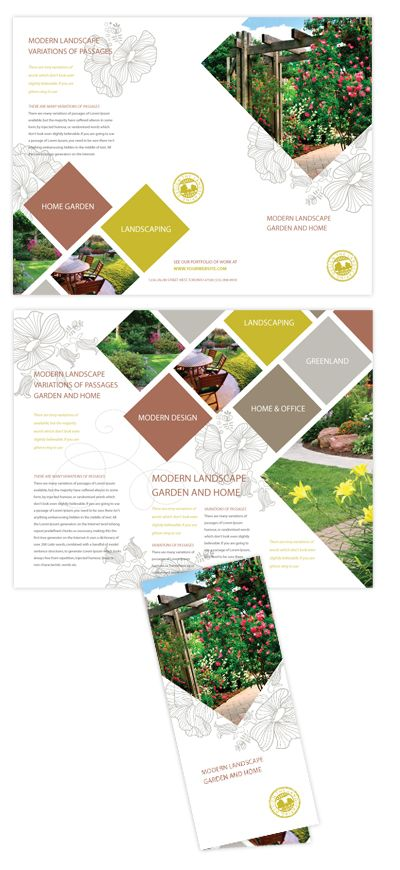 Modern Landscaping Tri Fold Brochure   Triangle photos