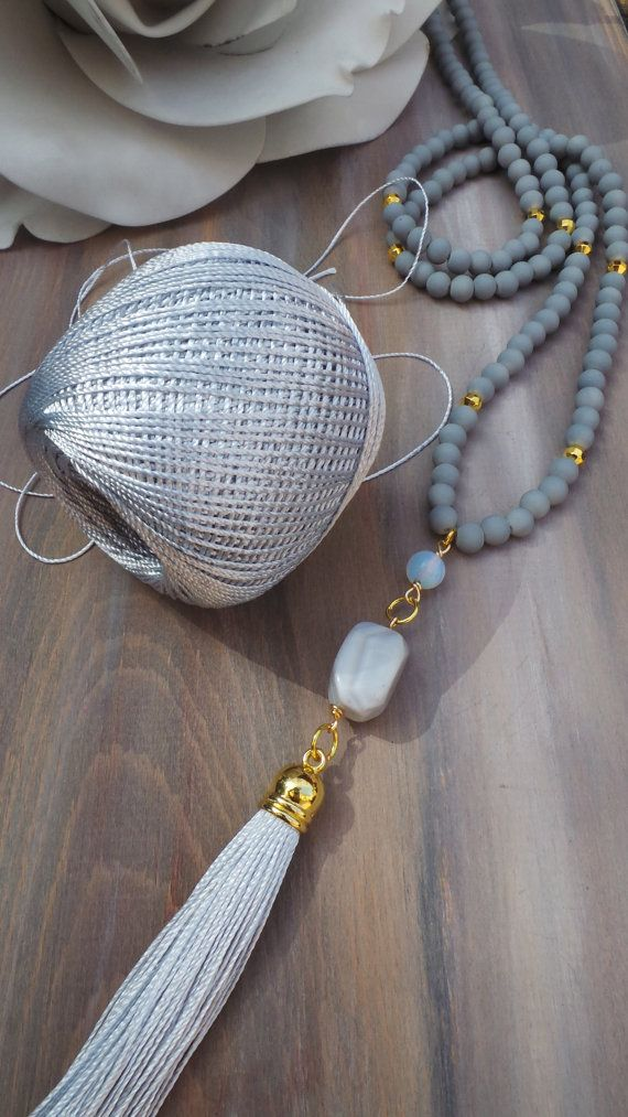 Long beaded tassel necklace . Long grey by AllAboutEveCreations