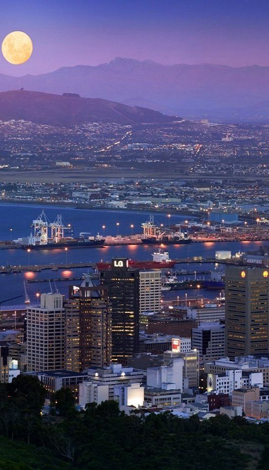 Cape Town at night, South Africa. Via Living in South Africa