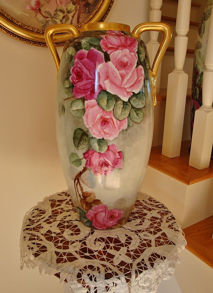"Massive Antique Floor Vase 18"" Austria Hand Painted Roses"