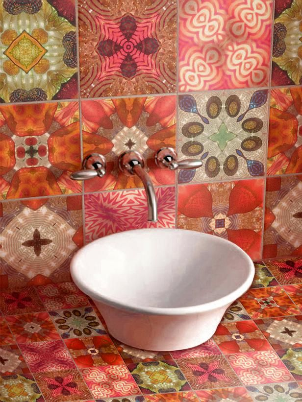 Patchwork Pretty Mix and match designer tiles to create a patchwork of eye-popping color. These patterned tiles create a rich color palette that feel as inviting as Grandma's quilt with more of a contemporary twist