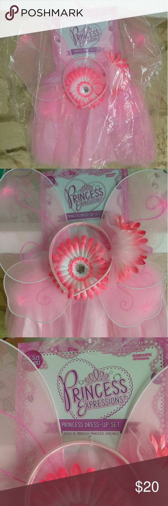 NWT Princess Dress Up Set NWT Princess Dress Up Set. Comes with Pink Tutu with flower, Pink Wings, and Pink flower head band. Brand New never been worn.   One size fits most. See picture with size description.  Can be used as a Halloween Costume. Comes with free set of dress up ballerina shoes.   Tutu Material: 100% Polyester Princess Expression Costumes Dance