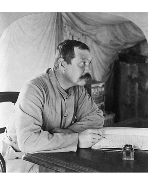 Sir Arthur Conan Doyle at Bloemfontein, 1900.  In spring of that year, Conan Doyle was staffed as the Secretary and Medical Registrar of the Langman Field Hospital in Bloemfontein during the Boer War.