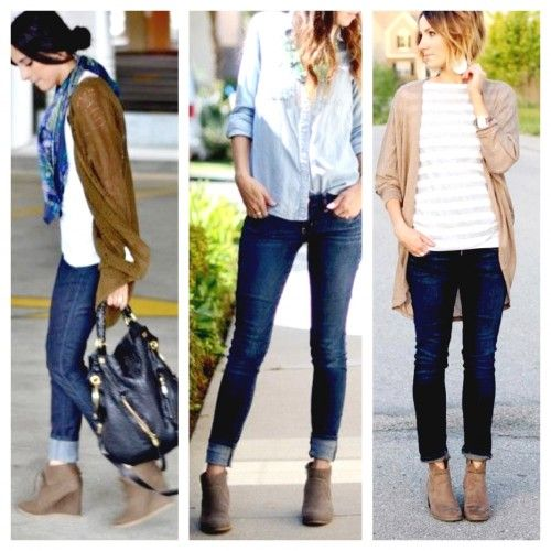 Straight leg jean with booties! Notice the booties? Look familiar? You can  still - Best 25+ Wedge Booties Outfit Ideas On Pinterest Black Wedges