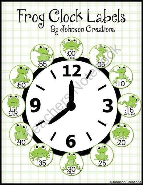 Frog Clock Labels product from Johnson-Creations on TeachersNotebook.com